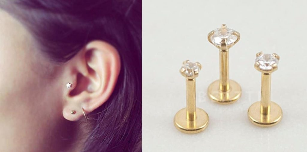 Tragus Piercing Internal Threaded jewelry