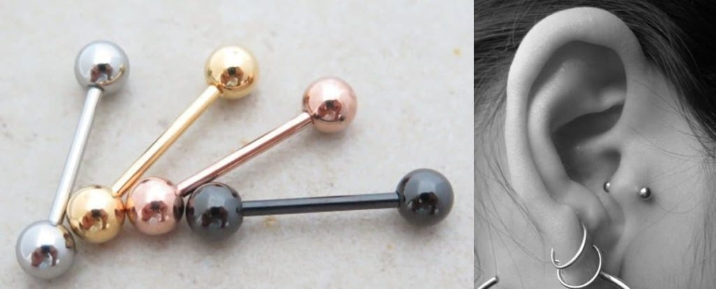 Tragus piercing barbell jewelry